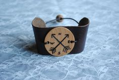 Essential Oil Diffuser Bracelet for boys - compass and arrows -  Wooden and Leather Bracelet by ThePurpleBus on Etsy