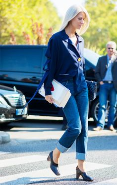 The New Way to Style Your Jeans This Winter | via @WhoWhatWear | High Cuff Denim.