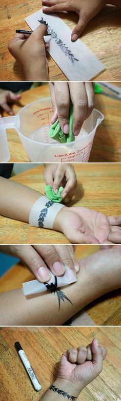 How to Create Your Own Temporary Tattoo- I can't wait to trick my husband with this! He is always worried that I will get more tattoos.