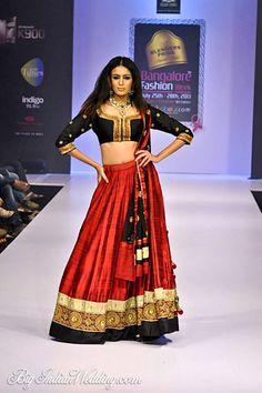 Sagar Tenali red and black designer lehenga
