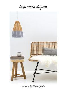 bloomingville banquette rotin meuble design metal noir mobilier de salon ustensile de