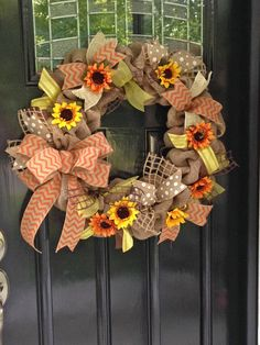 Sunflowers and Burlap Door Wreath - Orange, White, and Yellow Ribbons and Flowers- Polka Dot and Chevron - Fall www.etsy.com/shop/simplyblessedgift