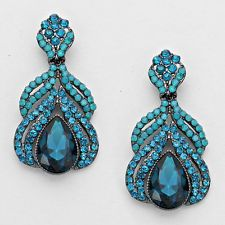 """Lush Glam Silver 1.75"""" Teal Zircon Crystal Cocktail Earrings Rocks Boutique"""