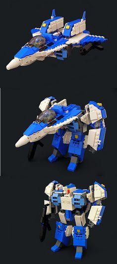 Transforming Lego Robotech fighter - Saving this for my Transformer/Robotech loving husband
