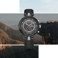 """Dream of mountains thanks to the Number 8 Chronograph by Katherine Choong, our champion climbing ambassador! """"Never Give Up"""" Number 8, Never Give Up, Chronograph, Watches, Climbing, Champion, Leather, Concept, Accessories"""