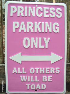 """GIRL CAVE SIGN"" PRINCESS PARKING ONLY PINK METAL HOME DECOR BEDROOM SIGNS NEW #PRINCESSPARKINGSIGN"