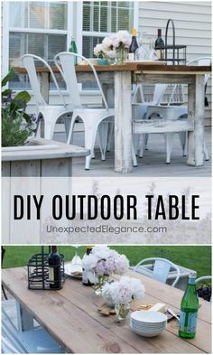 DIY Outdoor Farm Table - DIY Outdoor Farm Table Looking for an expensive and sturdy outdoor table? Get a step-by-step tutorial for making an EASY, DIY outdoor table that won't break the bank! Outdoor Farm Table, Rustic Outdoor Decor, Outdoor Garden Furniture, Diy Furniture, Outdoor Living, Rustic Furniture, Farm Tables, Vintage Furniture, Bedroom Furniture
