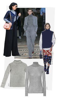 No look de Alice Ferraz, ela apostou em uma versão cinza mescla (que está com tudo) por baixo de um cardigã de paetês e a pantalona para uma proposta moderna e fashionista, brincando com contrastes entre modelagens e texturas.