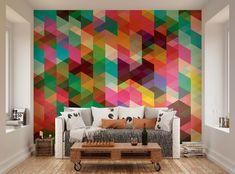 ohpopsi Modern Design Colourful Geometric Triangle Pattern Wall Mural