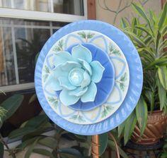 Blue Repurpose Glass Plate Flower Lotus Water Lily garden art.