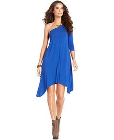 Kensie Dress, One-Shoulder Three- Quarter A-Line