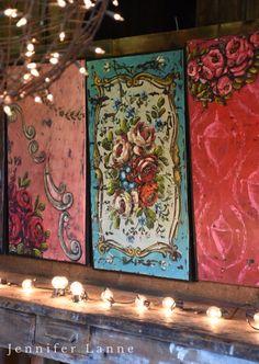 Salvaged metal paintings art by Jennifer Lanne