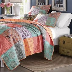 retro boho quilt set with shams print geometric floral pa httpswww quilt sets pinterest