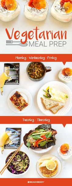 This vegetarian meal prep is a veggie lover's dream. Even if you're not strictly vegetarian, this meal plan is an excellent menu to try for a week. You'll get your daily recommended servings of protein from familiar sources like eggs, yogurt, and Shakeology, without taking the plunge into other vegetarian sources of protein like tofu, tempeh, and seitan. // healthy recipes // meal preps // meal planning // healthy eating // no meat // meat free // Beachbody // BeachbodyBlog.com
