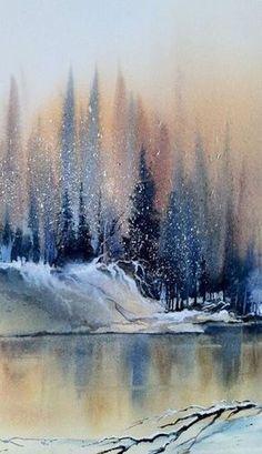 Winterwald Auf Der Seemalerei Easy Watercolor Malerei Ideen Fur Anfanger Watercolor Paintings Easy Lake Painting Watercolor Paintings For Beginners