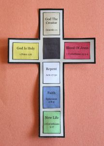 Gospel Cross This craft makes use of colors to help children understand the gospel message. The color association makes it easy for children to remember each part of the gospel. http://craftingthewordofgod.com/2013/06/19/gospel-cross/