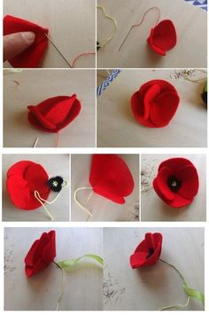 Fühlte mich Mohn, You are in the right place about DIY Fabric Flowers how to make Here we offer you the most beautiful pictures about the DIY Fabric Flowers how to make you are loo Cloth Flowers, Felt Flowers, Diy Flowers, Fabric Flowers, Paper Flowers, Felt Flower Diy, Crochet Flower, Felt Diy, Felt Crafts