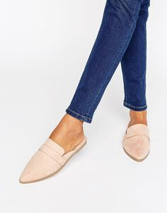MAGGIE Flat Mules by Asos. Flat shoes by ASOS Collection, Faux-suede upper, Slip-on backless style, Pointed toe, Wipe with a damp cloth, 100% Textile Upper. Score a wardrobe win no matter the dress code with our ASOS Collection own-label collection. From polished ... #asos #nudeshoes