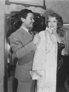 Rita Hayworth and costume designer Jean Louis on the set of Gilda, 1946.