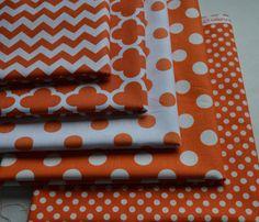 5 Orange and White Fabrics/Half Yard Fabric by RunnStitch on Etsy, $25.00