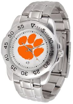 Clemson Tigers Steel Sports Watch. Linked Steel Band. Scratch Resistant Crystal. Calendar Function with Rotating Bezel. Officially Licensed NCAA Watch. Over 150 Schools Available.