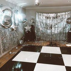 party Dirty 30 disco set up styling studio 54 theme Disco Theme Parties, Disco Party Decorations, Disco Birthday Party, Birthday Party Themes, 18th Party Themes, Unique Party Themes, Party Ideas, Birthday Ideas, Birthday Cake