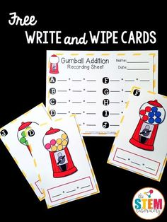 SAVED Free addition write and wipe cards! Perfect for kindergarten or first grade math. Fun addition game for a math center! Kindergarten Centers, Preschool Math, Math Classroom, Teaching Math, Math Centers, Kindergarten Addition, Math Stations, Classroom Ideas, Preschool Worksheets