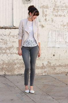 Blush Jacket, Lace Tee, Grey Denim, Madewell Flats by @jeansandateacup