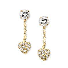 Gold Over Silver Cubic Zirconia Stud Heart CZ Dangle Interchangeable Enhancers #earpinearrings #sterlingsilverearpins #earringsthatgoup #pinearrings #earpinsjewelry #earpin #earpin #earspirals #earspirals #slideonearrings #climbtheearearrings #wrapearrings #nonpiercedearrings #earcuffs #personalizedbracelets #earcuffs #cuffearrings #cliponearrings #earspiralsearrings #earspiralearrings