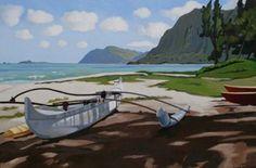 "Waimanalo Tranquilacrylic 40""x 60""Nohea Gallery. $7,200. By Brenda Cablayan."