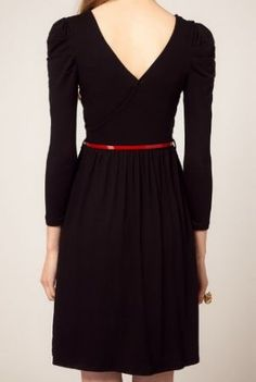 Black Cotton Blends V Neck Puff Sleeve Belt Wrap Dress - >> Love this dress, pretty neckline. $31