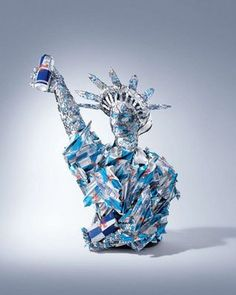 Red Bull Statue of Liberty. #redbull #recycle #artofcan