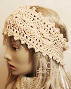 Crochet Picots and Shells Headband  Ear warmer PDF Pattern.