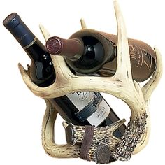 Rivers Edge Products Antler Wine Bottle Holder - a little whimsy for the kitchen. Dyi Wine Rack, Unique Wine Racks, Antler Art, Antler Crafts, Liquor Dispenser, Palette, Wine Bottle Holders, Liquor Bottles, Rivers