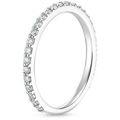 18K White Gold Luxe Petite Shared Prong Diamond Ring, top view