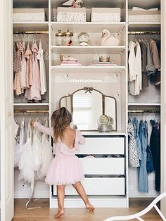 ikea closet IKEA Pax hack: How to Customize a Small Closet with the Pax System - The Pink Dream Little Girl Closet, Kid Closet, Closet Bedroom, Little Girl Rooms, Bedroom Decor, Ikea Pax Closet, Ikea Girls Bedroom, Baby Girl Closet, Ikea Kids Room