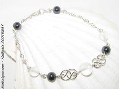 Bracelet Cristal de Roche mat, Hématite et argent massif 935 fait main par Nathalyne : Bracelet par nathalyne