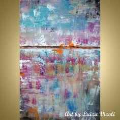 SUMMER ABSTRACT-Modern abstract art on large canvas for sale from American artist. Buy great American fine art from Minnesota artist. www.artbuluizavizoli.com