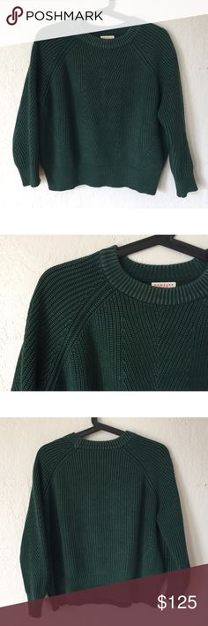 Steven Alan: Demylee emerald knit sweater Gorgeous sweater worn only a handful of times. The color is awesome- emerald green with a very very slight designed lightening on the knit so it highlights the knit pattern (see pictures). A new staple for a minimal closet! Purchased new at Steven Alan Steven Alan Sweaters Crew & Scoop Necks