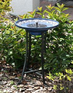 $215 eek! Solar Bird Bath - Blue and White Ceramic Mosaic | Gardener's Supply