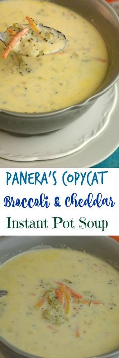Share with friends     1  1SharePanera's Copycat Broccoli and Cheddar Instant Pot Soup There is nothing better than a bowl of Panera's Broccoli and Cheddar soup in a bread bowl. When I was working in the clinic we use to order take out from Panera's I always got the soup in a bread bowl. I could not wait …