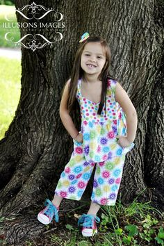 3 Piece Girls Twirl Top Shorts and Capri Set by QuiltandQuest, $30.00