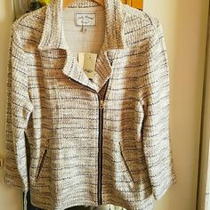 Lucky Brand Boho Motorcycle  Jacket NWT Size XL This super cute motorcycle jacket adds coolness to all your bohemian outfits this spring and summer! The jacket is brand new with tags and features zippered pockets on each side. The material feels like a nice tweed or boucle. Size XL Lucky Brand Jackets & Coats