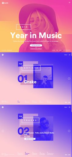 Music streaming service Spotify showcase their 2015 year in a colorful, interactive One Pager based on user stats. Make sure you use the navigation and arrows for a better user experience vs scrolling.