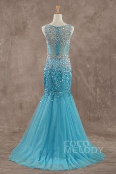 Charming Bateau Train Tulle Blue Glow Sleeveless Evening Dress with Beading PR3163Cocomelody#promdresses#formalpartydress#