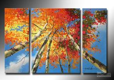 Wholesale hand-painted artwork The sky red tree Landscape oil-paintings on canvas /set mixorde Framed, Free shipping, $49.57/Set | DHgate