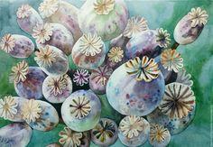 Watercolor painting | Купить Маковые коробочки - мак, цветы, акварель, акварельная картина, акварельная живопись, Живопись