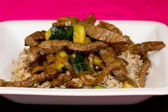 Stir Fry Beef with Onions and Zucchini.  Bomb!