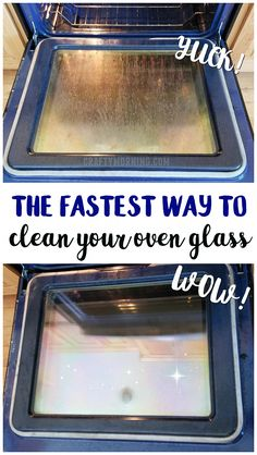 Heres the fastest and easiest way to clean your oven glass in under 5 minutes Its all natural and doesnt smell DIY oven cleaner oven glass cleaner baking soda tin foil tr. Diy Home Cleaning, Deep Cleaning Tips, Household Cleaning Tips, Cleaning Recipes, House Cleaning Tips, Natural Cleaning Products, Oven Cleaning Hacks, Bathroom Cleaning, Glass Cleaning