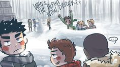 snowball fight: derek,stiles,boyd vs scott, isaac and jackson + allison, lydia and erica are building a snowman